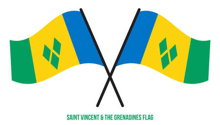 Saint Vincent and the Grenadines Flag Waving Vector Illustration on White Background. Saint Vincent and the Grenadines National Flag. Çizim
