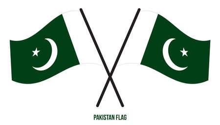 Pakistan Flag Waving Vector Illustration on White Background. Pakistan National Flag.