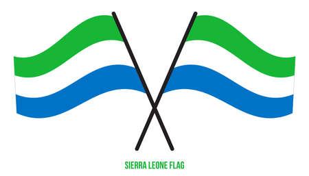 Sierra Leone Flag Waving Vector Illustration on White Background. Sierra Leone National Flag. Çizim