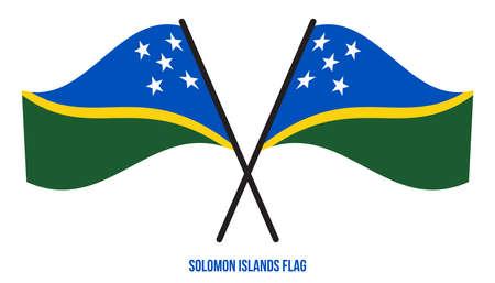 Solomon Islands Flag Waving Vector Illustration on White Background. Solomon Islands National Flag.