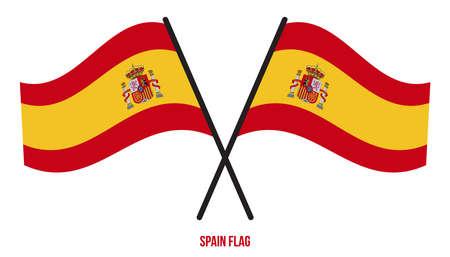 Spain Flag Waving Vector Illustration on White Background. Spain National Flag. Çizim