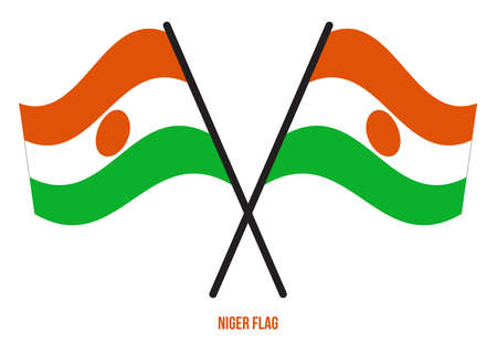 Niger Flag Waving Vector Illustration on White Background. Niger National Flag. Çizim