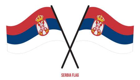 Serbia Flag Waving Vector Illustration on White Background. Serbia National Flag. Çizim