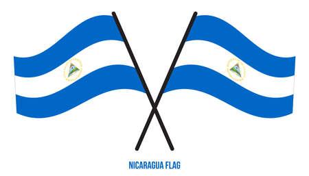 Nicaragua Flag Waving Vector Illustration on White Background. Nicaragua National Flag.