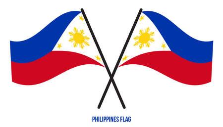 Philippines Flag Waving Vector Illustration on White Background. Philippines National Flag. Çizim