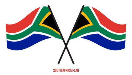 South Africa Flag Waving Vector Illustration on White Background. South Africa National Flag. Çizim