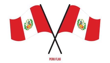 Peru Flag Waving Vector Illustration on White Background. Peru National Flag. Çizim