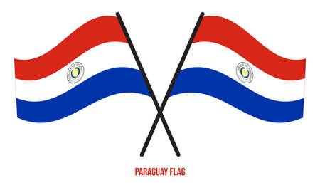 Paraguay Flag Waving Vector Illustration on White Background. Paraguay National Flag.