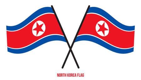 North Korea Flag Waving Vector Illustration on White Background. North Korea National Flag.
