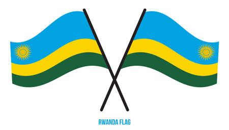 Rwanda Flag Waving Vector Illustration on White Background. Rwanda National Flag.