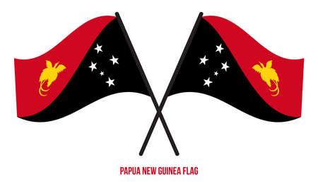 Papua New Guinea Flag Waving Vector Illustration on White Background. Papua New Guinea National Flag.