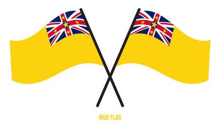 Niue Flag Waving Vector Illustration on White Background. Niue National Flag.