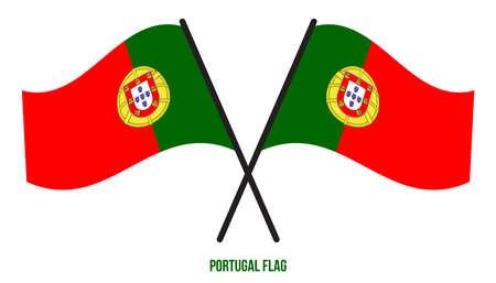 Portugal Flag Waving Vector Illustration on White Background. Portugal National Flag. Çizim