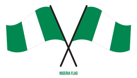 Nigeria Flag Waving Vector Illustration on White Background. Nigeria National Flag.