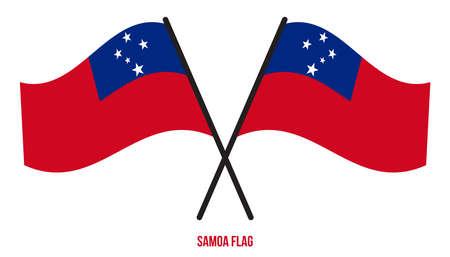 Samoa Flag Waving Vector Illustration on White Background. Samoa National Flag. Çizim