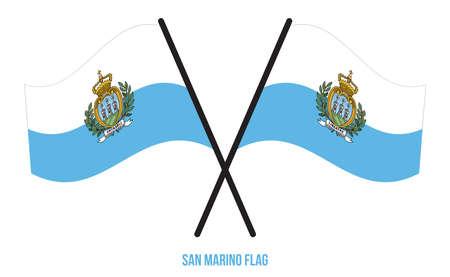 San Marino Flag Waving Vector Illustration on White Background. San Marino National Flag.