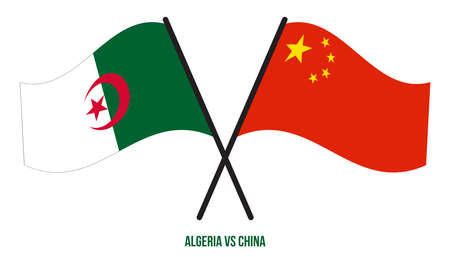 Algeria and China Flags Crossed And Waving Flat Style. Official Proportion. Correct Colors. Illustration
