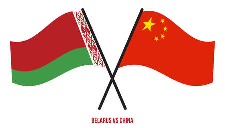 Belarus and China Flags Crossed And Waving Flat Style. Official Proportion. Correct Colors. Ilustração