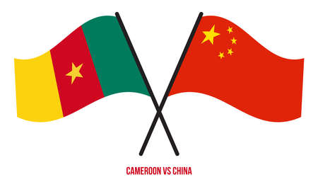 Cameroon and China Flags Crossed And Waving Flat Style. Official Proportion. Correct Colors.