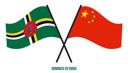 Dominica and China Flags Crossed And Waving Flat Style. Official Proportion. Correct Colors.