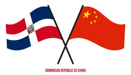 Dominican Republic and China Flags Crossed And Waving Flat Style. Official Proportion.