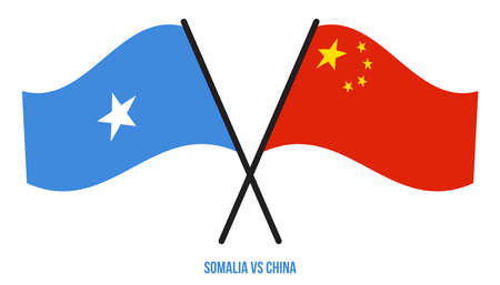 Somalia and China Flags Crossed And Waving Flat Style. Official Proportion. Correct Colors.