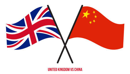 United Kingdom and China Flags Crossed And Waving Flat Style. Official Proportion. Correct Colors.