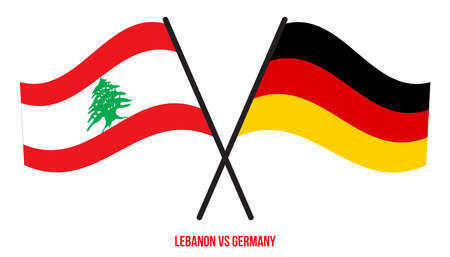Lebanon and Germany Flags Crossed And Waving Flat Style. Official Proportion. Correct Colors.