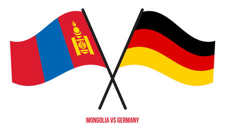 Mongolia and Germany Flags Crossed And Waving Flat Style. Official Proportion. Correct Colors.