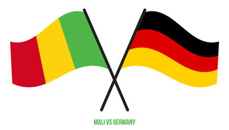 Mali and Germany Flags Crossed And Waving Flat Style. Official Proportion. Correct Colors.