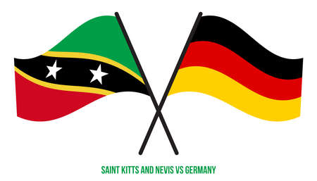 Saint Kitts & Nevis and Germany Flags Crossed And Waving Flat Style. Official Proportion.