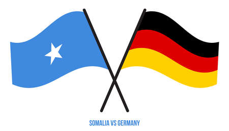 Somalia and Germany Flags Crossed And Waving Flat Style. Official Proportion. Correct Colors.