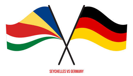 Seychelles and Germany Flags Crossed And Waving Flat Style. Official Proportion. Correct Colors.