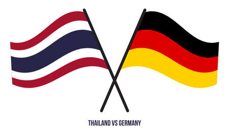 Thailand and Germany Flags Crossed And Waving Flat Style. Official Proportion. Correct Colors.