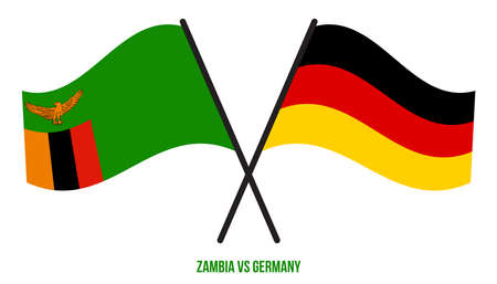 Zambia and Germany Flags Crossed And Waving Flat Style. Official Proportion. Correct Colors. Illustration