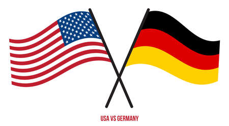 USA and Germany Flags Crossed And Waving Flat Style. Official Proportion. Correct Colors.