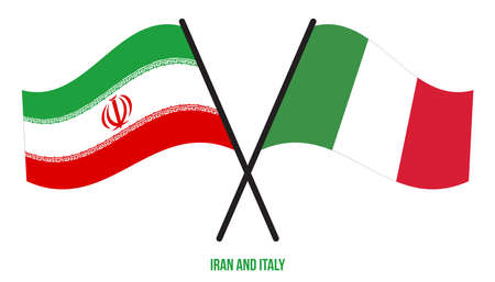 Iran and Italy Flags Crossed And Waving Flat Style. Official Proportion. Correct Colors.