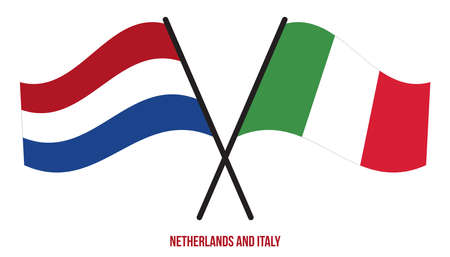 Netherlands and Italy Flags Crossed And Waving Flat Style. Official Proportion. Correct Colors.