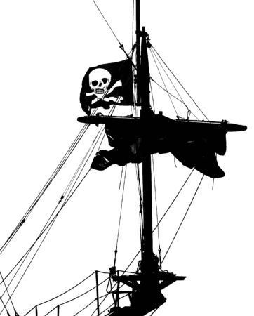 piracy: Black piracy ship with flag on a white background