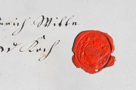 18th: Ancient parchment manuscript with wax seal