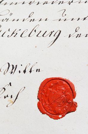 Antica pergamena manoscritto con sigillo di cera