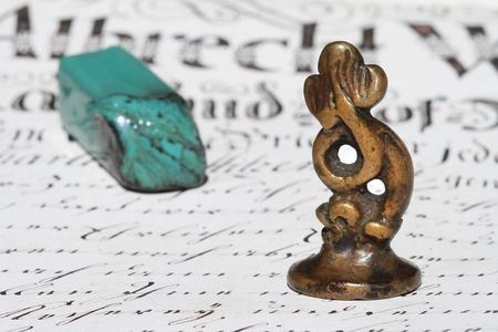 doublet: Stamp and wax seal on ancient document  Stock Photo