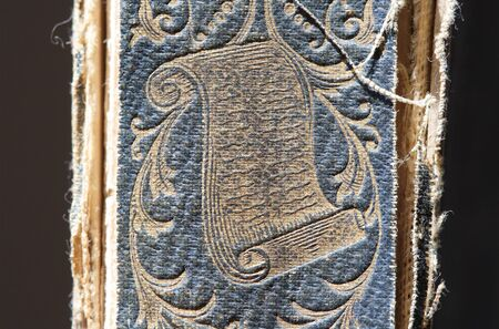 bookbinding: Spine of an antique book with design of document on it Stock Photo