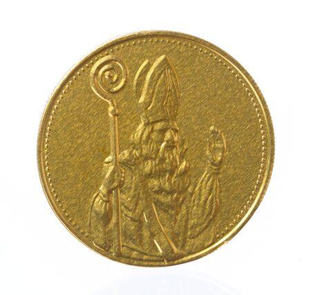 sinterklaas: Isolated shot of a sinterklaas coin