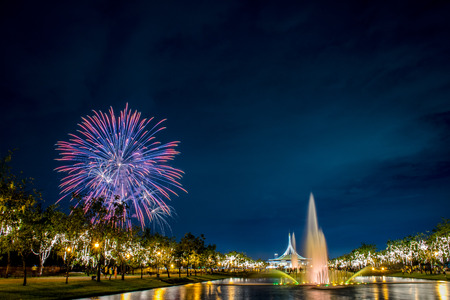 rama: Suan Luang Rama 9 with colorful Fireworks