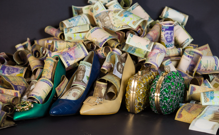 woman shoe and Bag in cash and paper currencies