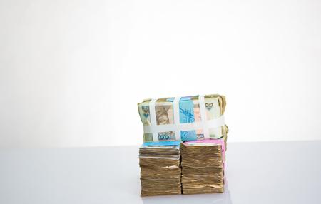 Stack of nigeria naira notes on white background