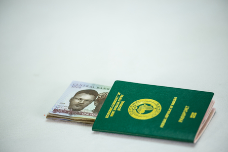 International Passport with local currency notes Stock Photo - 124281168