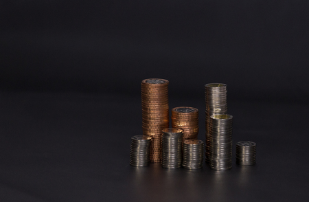 Nigeria coins on black background Stock Photo