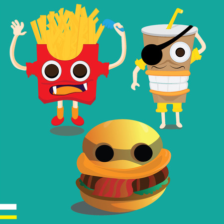 Monster fast food cartoon character. Vector